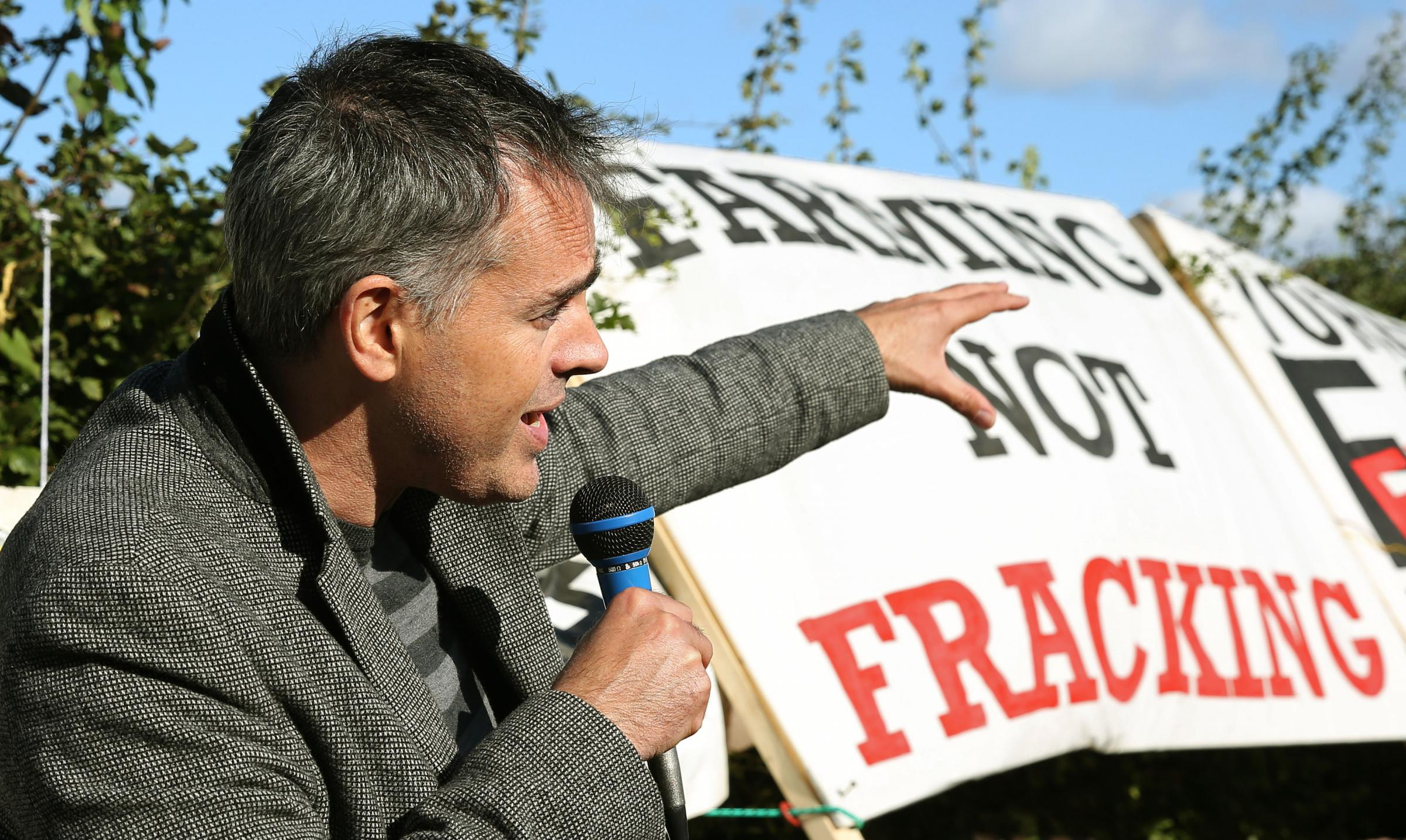 Green Party co-leader dragged from frack site entrance by police