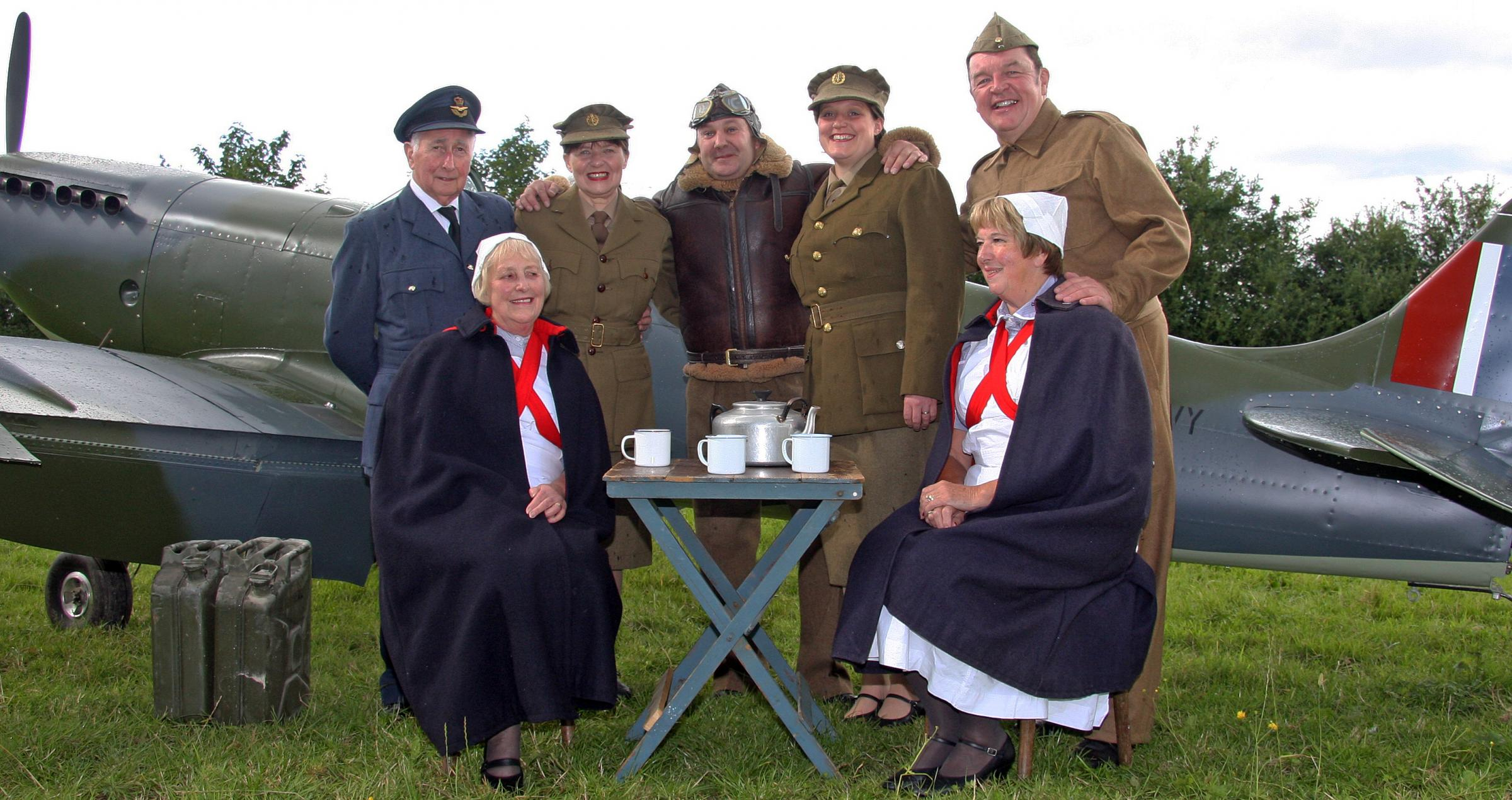 The cast of the Pickering Musical Society's warime weekend production of ENSA – Memory Lane, which opens at the Kirk Theatre today