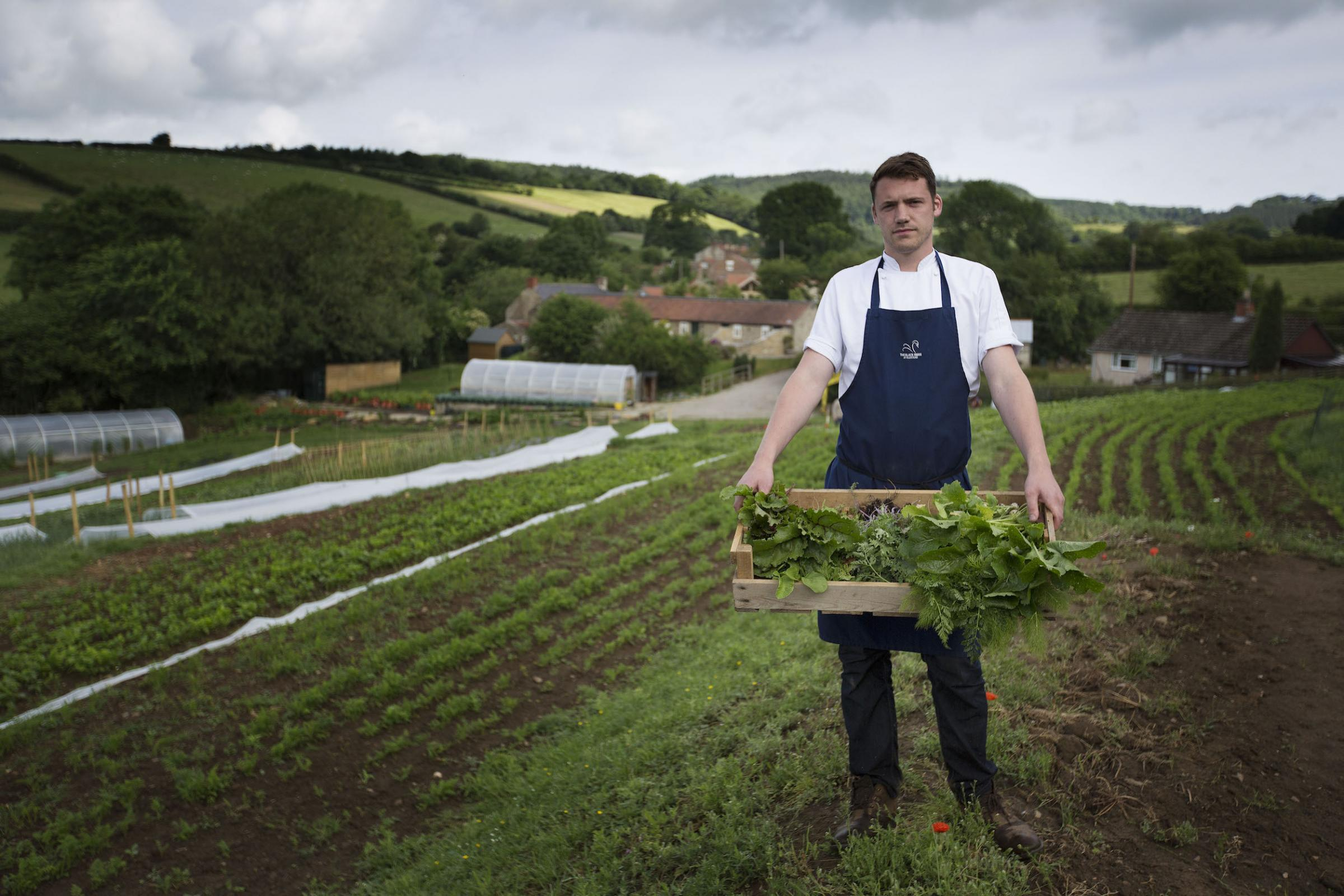 Chef Tommy Banks in the gardens the Black Swan at Oldstead