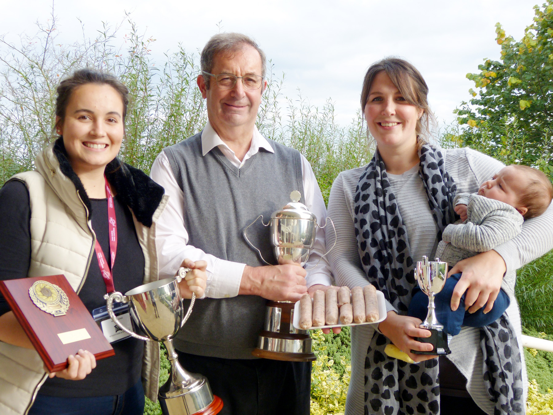 Pictured with their 2017 Great Yorkshire trophies are, from left, Megan Hogg, Peter Hogg, Sarah Scarth and baby Albie, from W Fletcher & Sons Butchers in Norton.