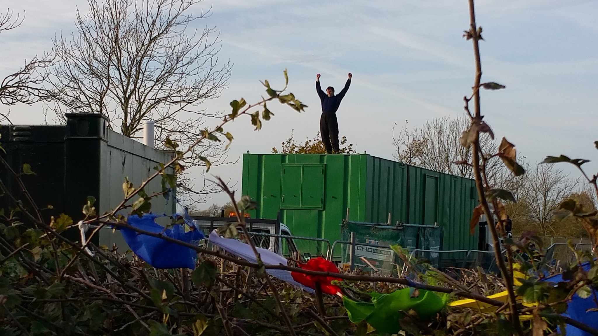 The 'lorry surfer' at the KMA fracking site. Picture: KM Protectors