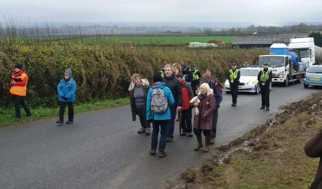 Protesters 'slow walking' lorries earlier in the week. Picture: North Yorkshire Police