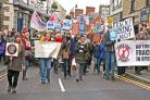 Anti-fracking protesters parade through Pickering on Saturday    Picture: Nigel Holland