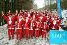 A snowy  Santa Fun Run at Dalby Forest raising money for Yorkshire Cancer Research    Picture: Richard Doughty