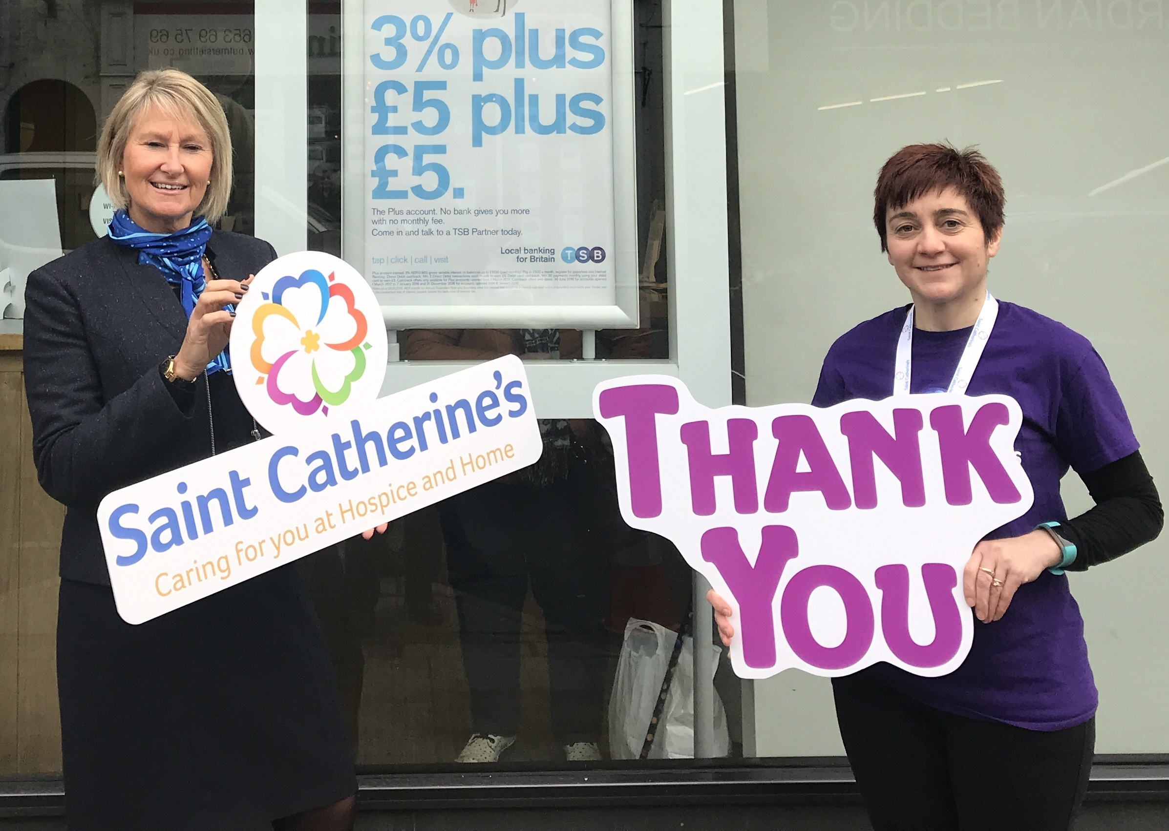 Joy Sharples, left, from TSB Malton and Nicky Grunwell, Saint Catherine's Fundraiser    Picture: Saint Catherine's Hospice