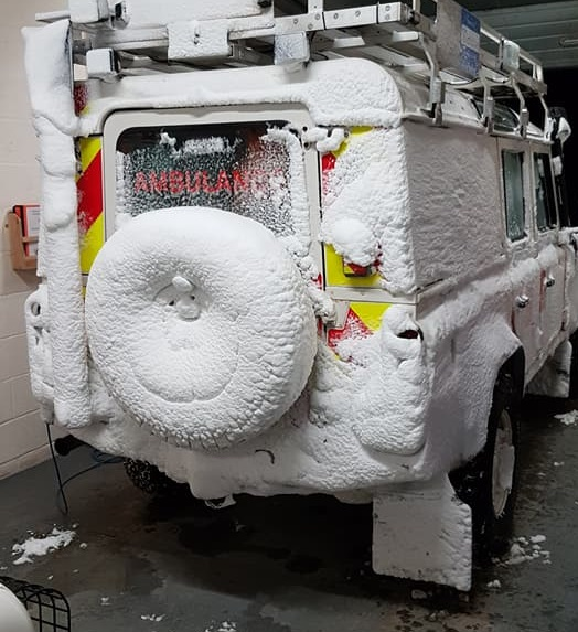 A snow-covered rescue vehicle. Picture: SRMRT Facebook
