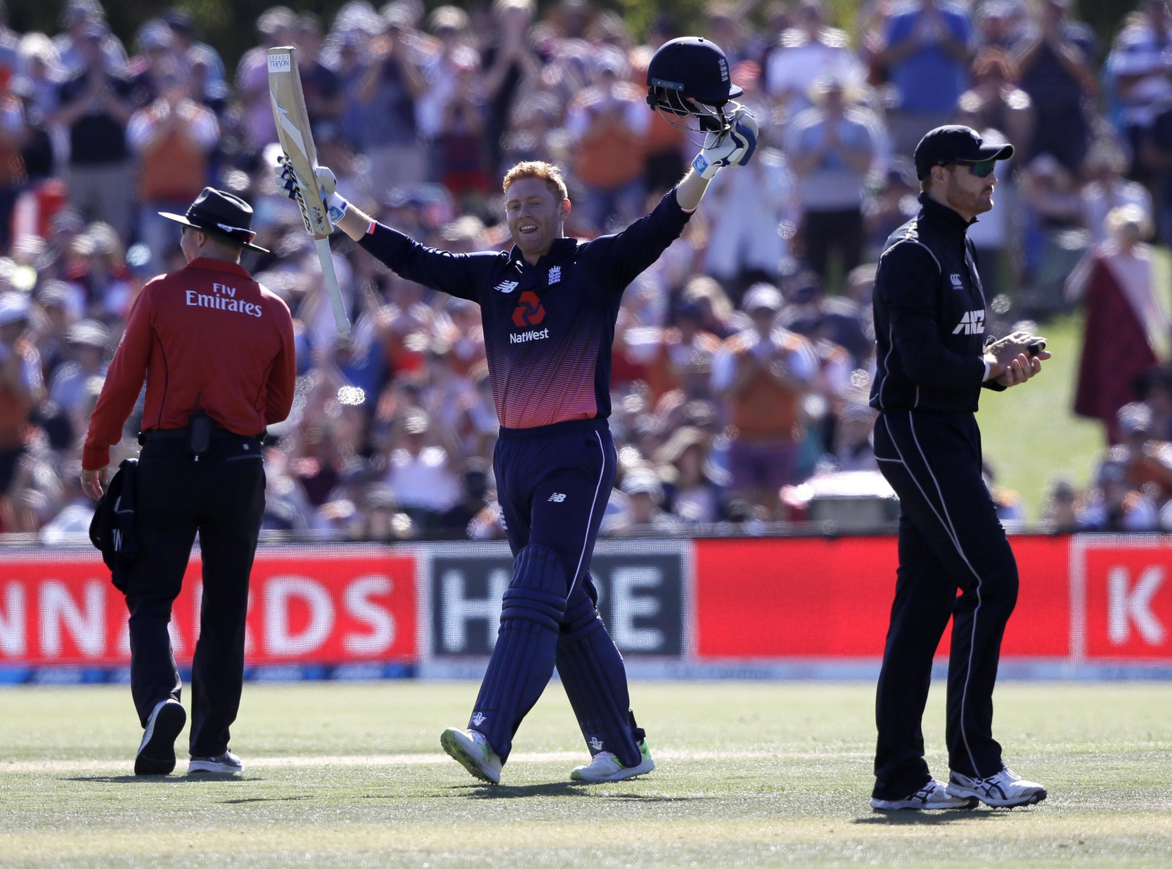 Jonny Bairstow celebrates after completing a 58-ball century for England in their series decider against New Zealand in Christchurch – Picture: AP Photo/Mark Baker