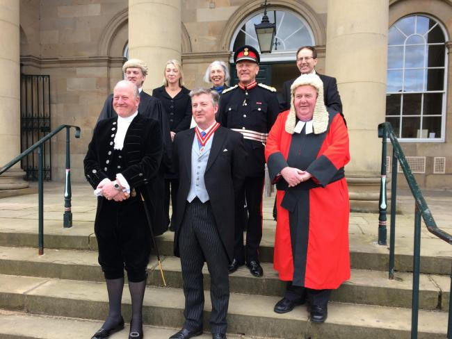 The new High Sheriff Christopher Legard, centre front, with left front, retiring High Sheriff Simon Wrightson, right front the Honorary Recorder of York, Judge Paul Batty QC, back left to right his brother, barrister Edward Legard, magistrate Judith Hanso