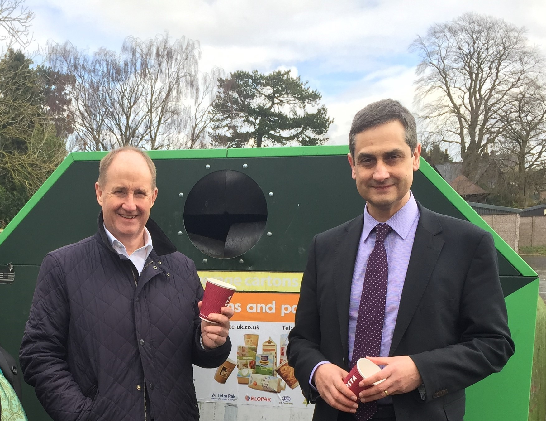 Kevin Hollinrake MP, left, at the recycling bank