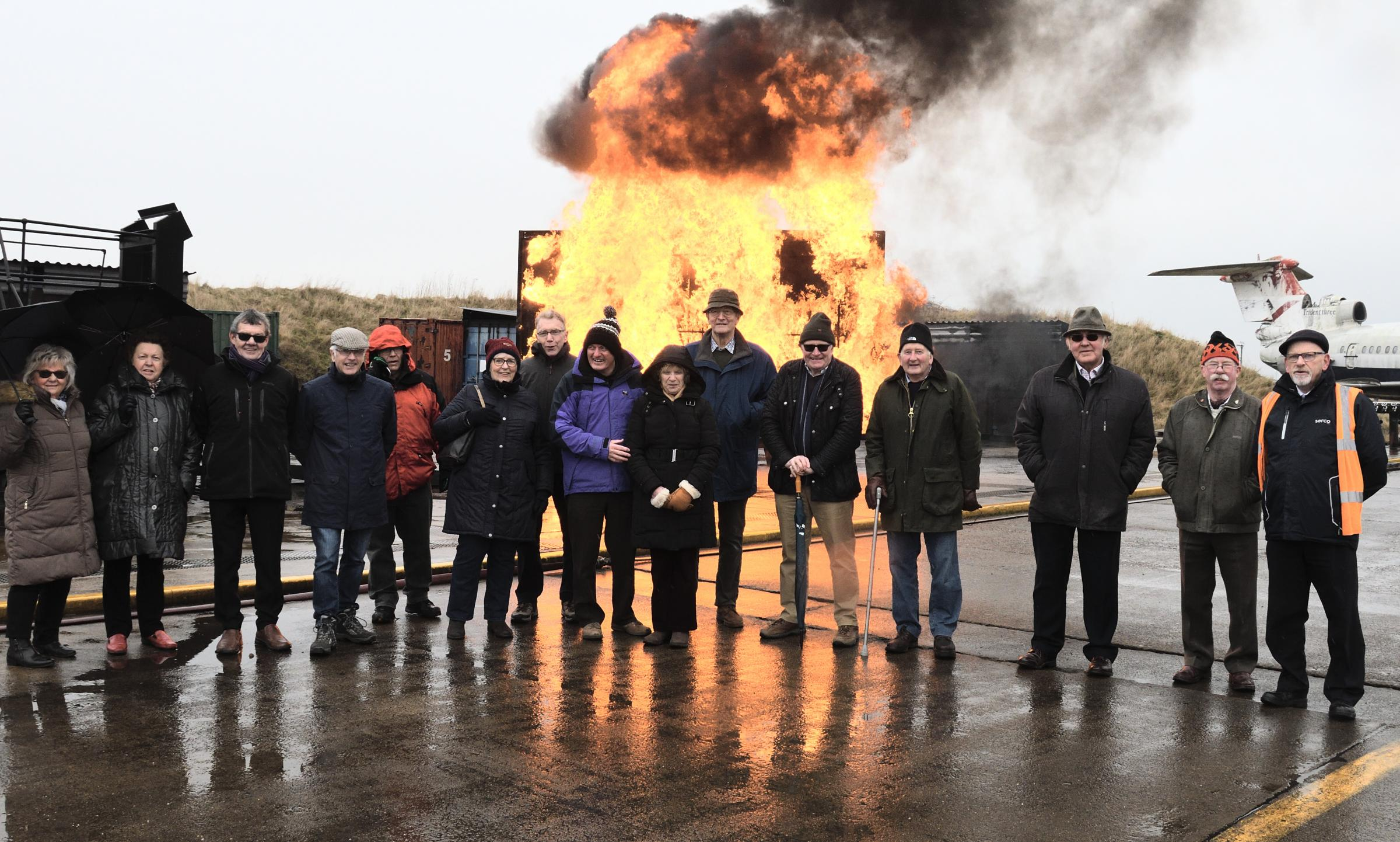Members of Pickering Rotary Club during their recent visit to the International Fire Training Centre at Durham Tees Valley Airport