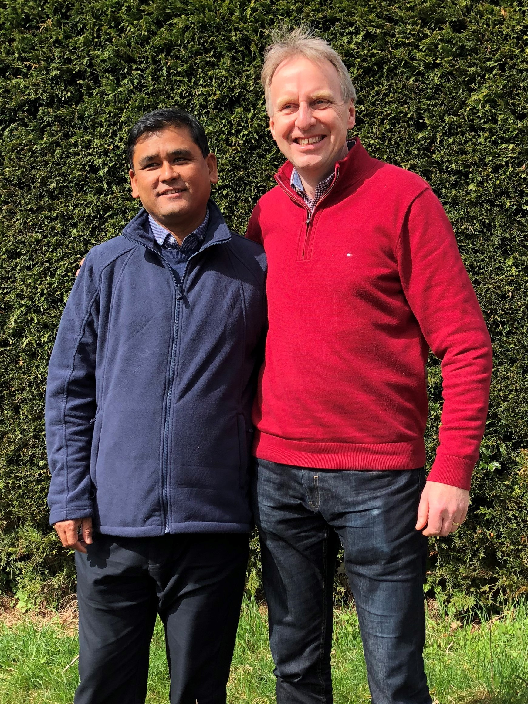 Paul Tate-Smith and Tilak, manager of Hope Centre, Katmandu, which works with New Futures Nepal, one of the charities Paul is running for