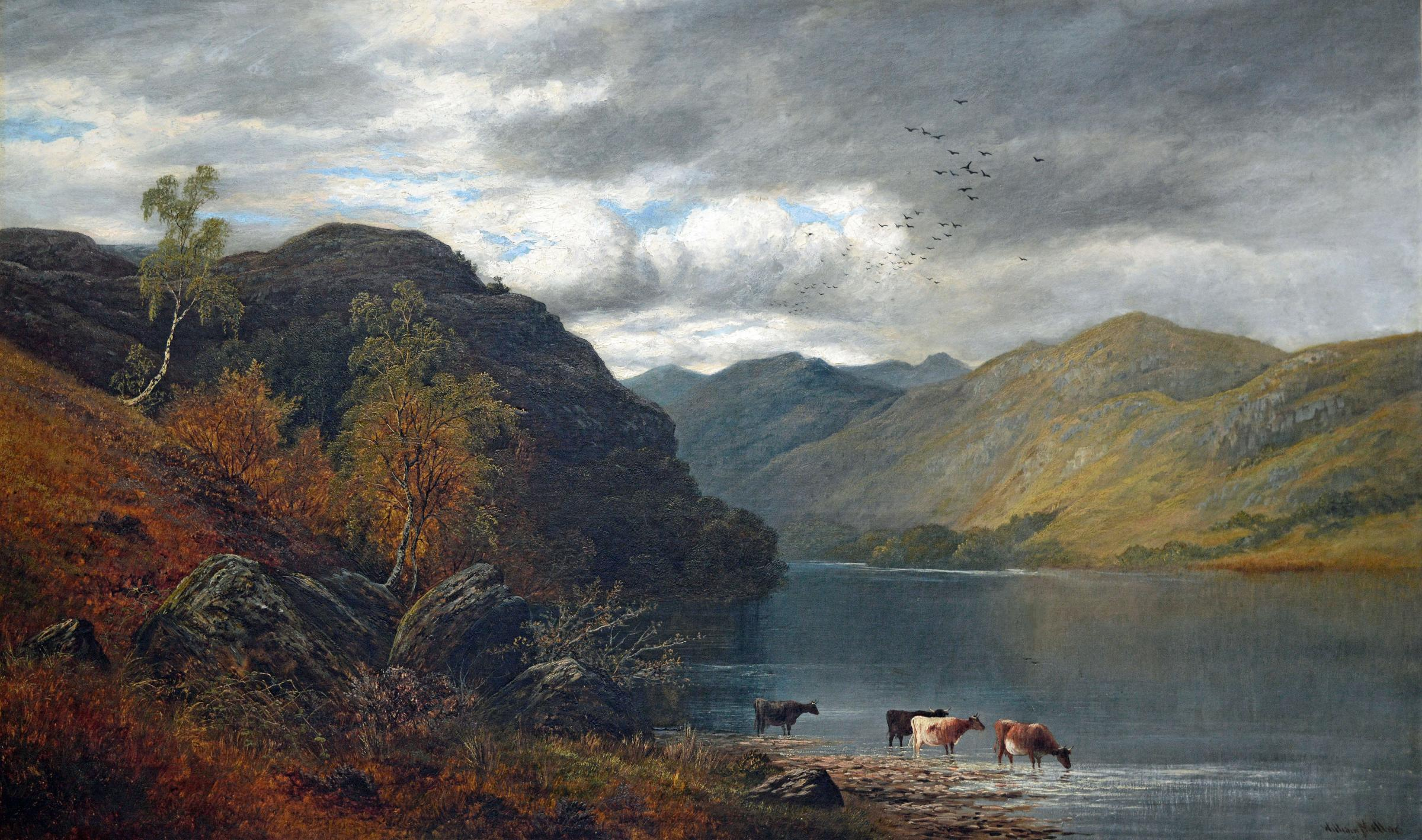 A large oil painting by William Mellor of Derwentwater, Cumbria, signed and dated c1900 will be available from Carnes Fine Art.
