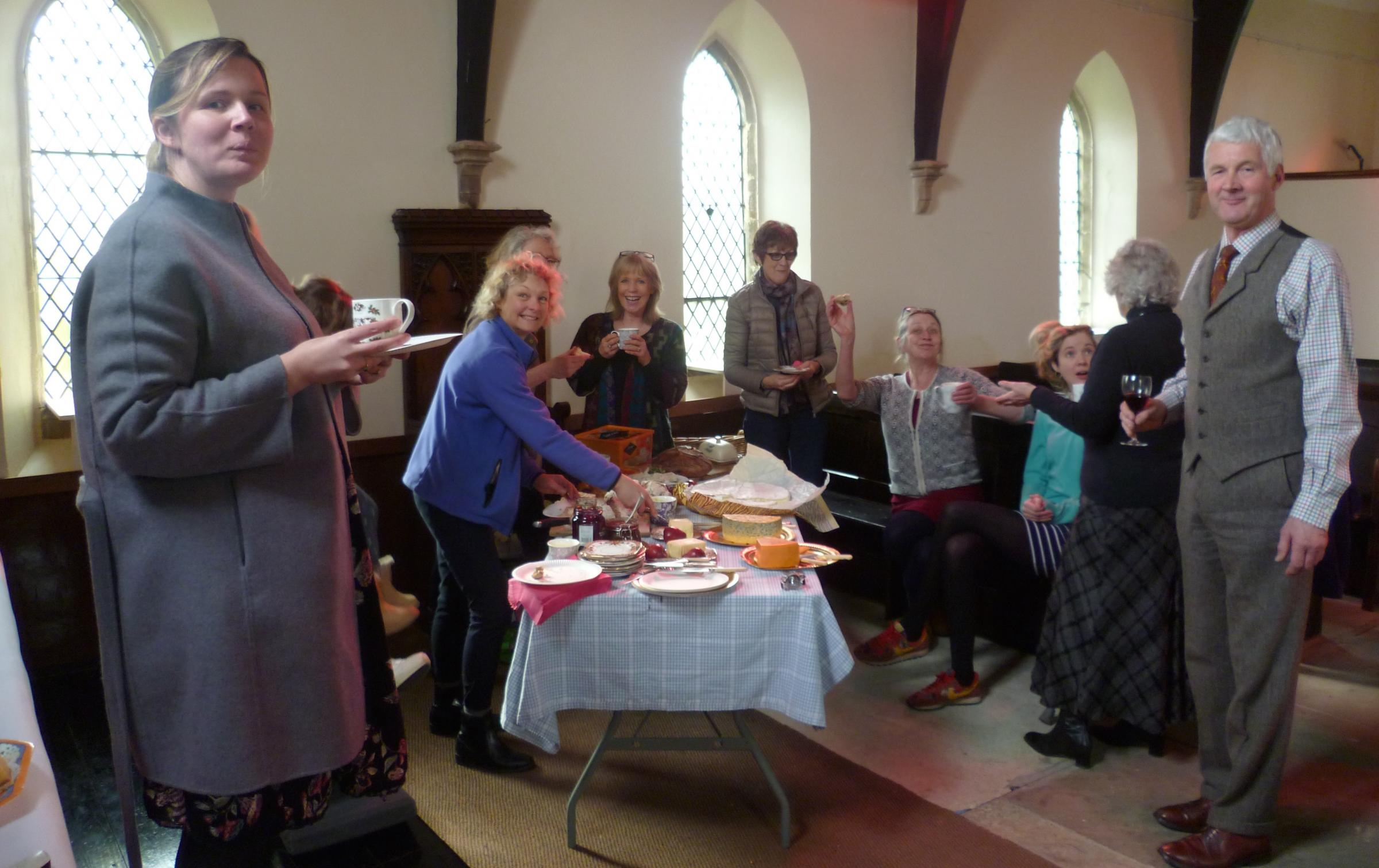 Villagers in Butterwick enjoying a Good Friday lunch in church