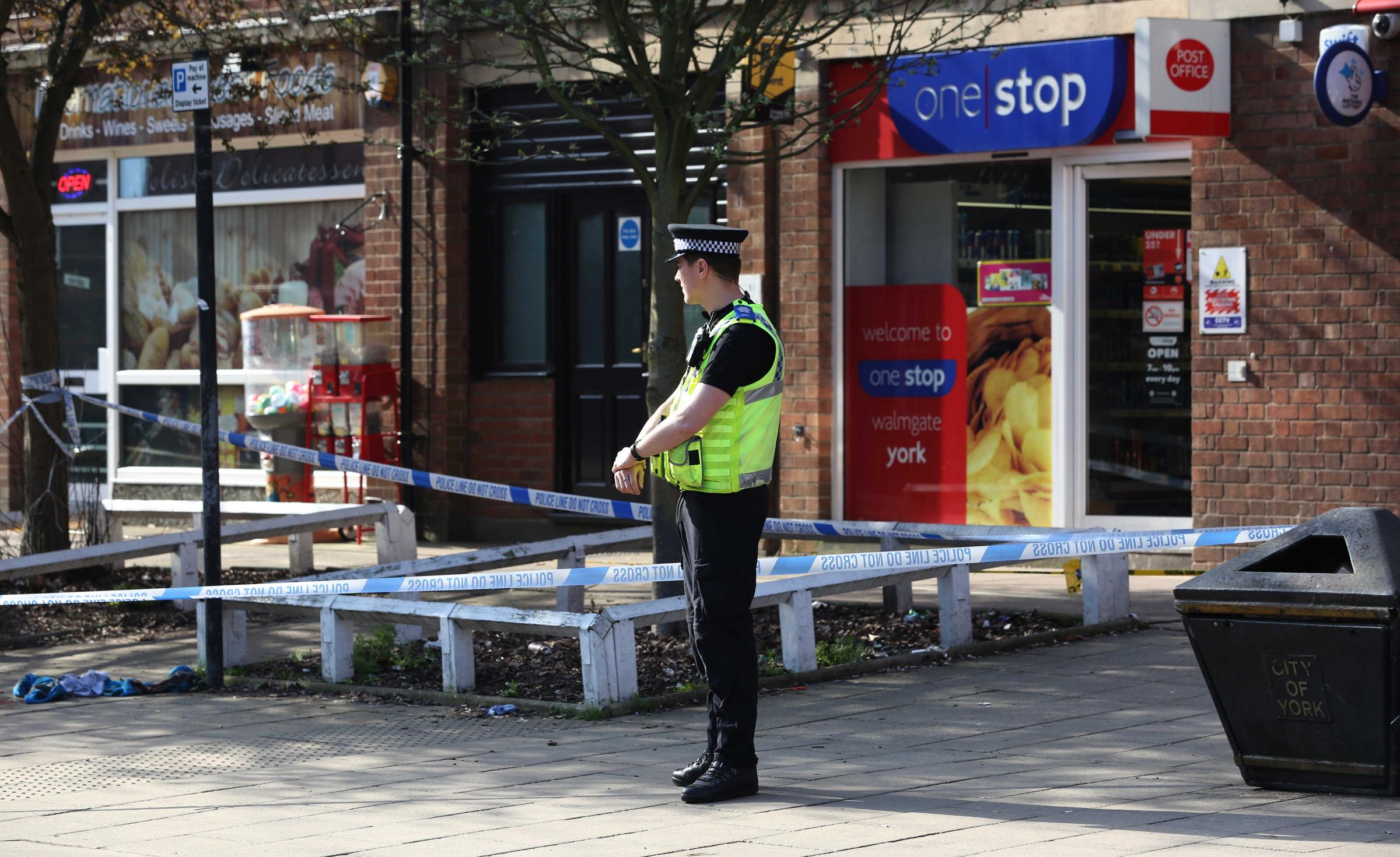 The cordon in place on Walmgate, York, this morning. Picture: Richard Doughty
