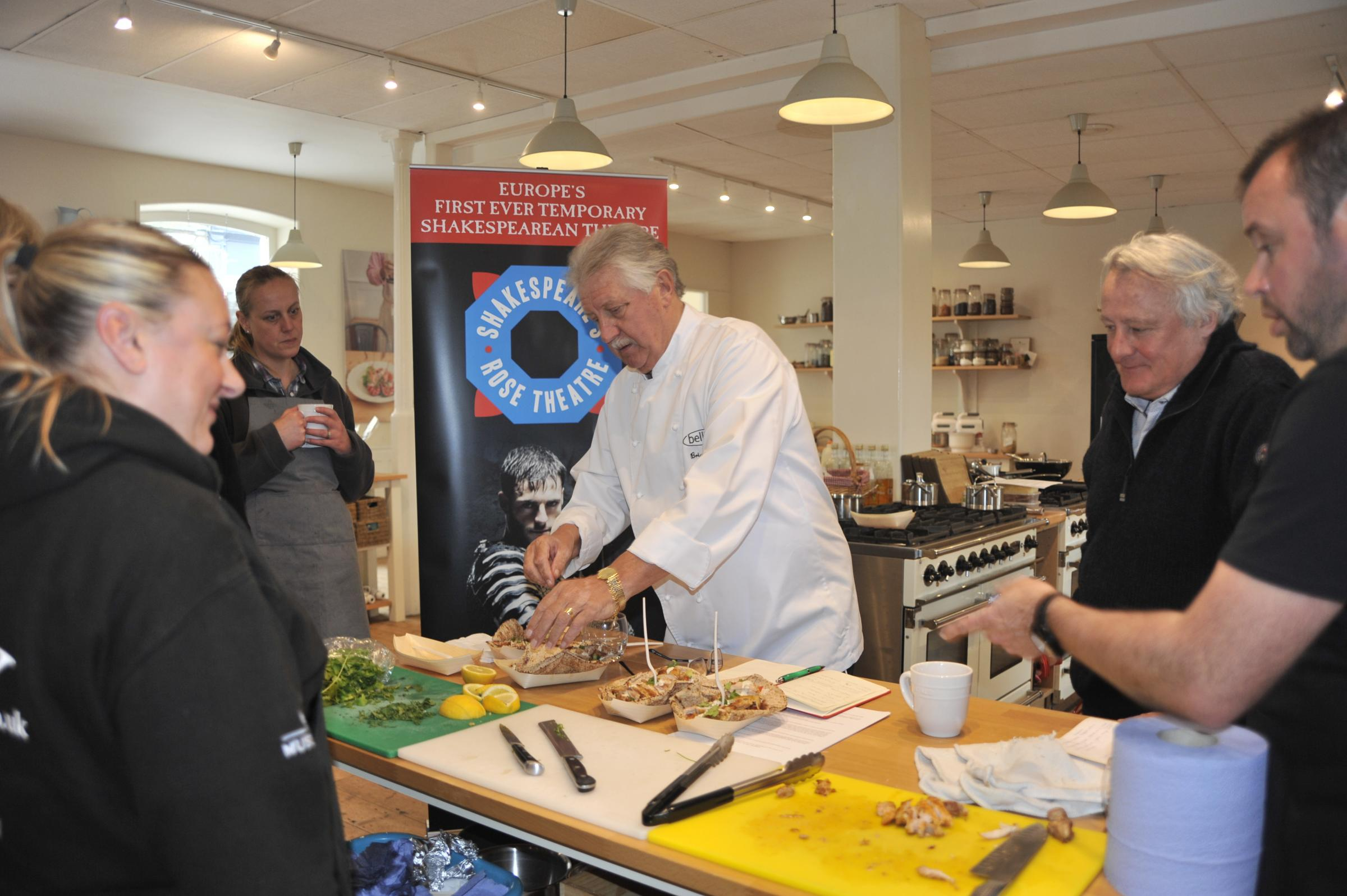 Chef Brian Turner during his visit to Malton Cookery School as he prepares a menu for this summer's Shakespeare extravaganza in York
