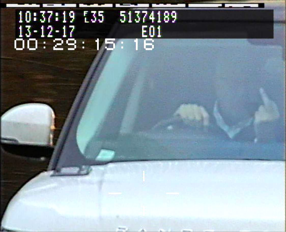 Timothy Hill giving the finger to a police safety camera on the A19 in December 2017. Pictures: North Yorkshire Police