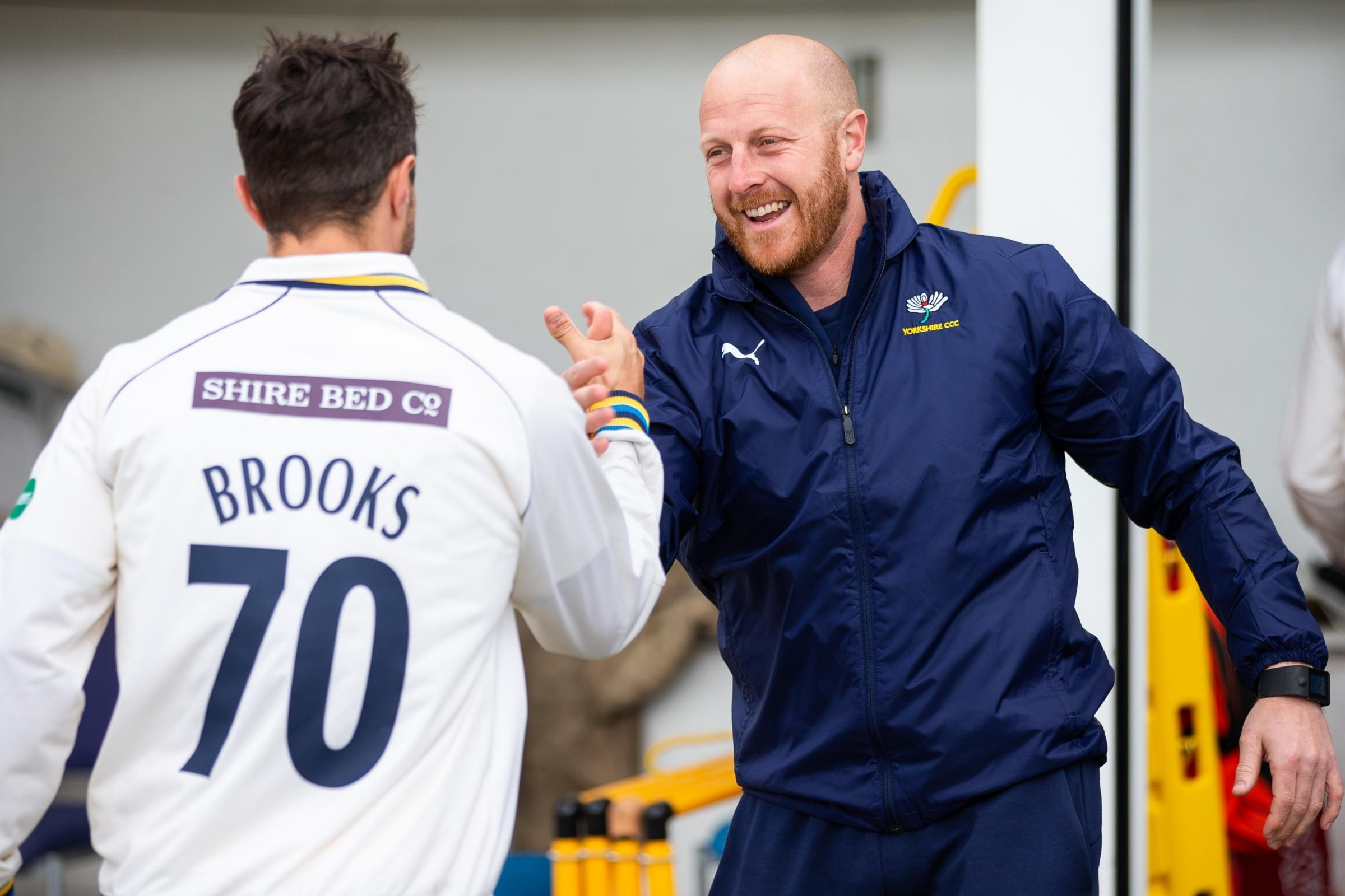 Jack Brooks, pictured celebrating Yorkshire's opening win over Nottinghamshire, is hoping to change his poor record at Taunton    Picture: swpix.com