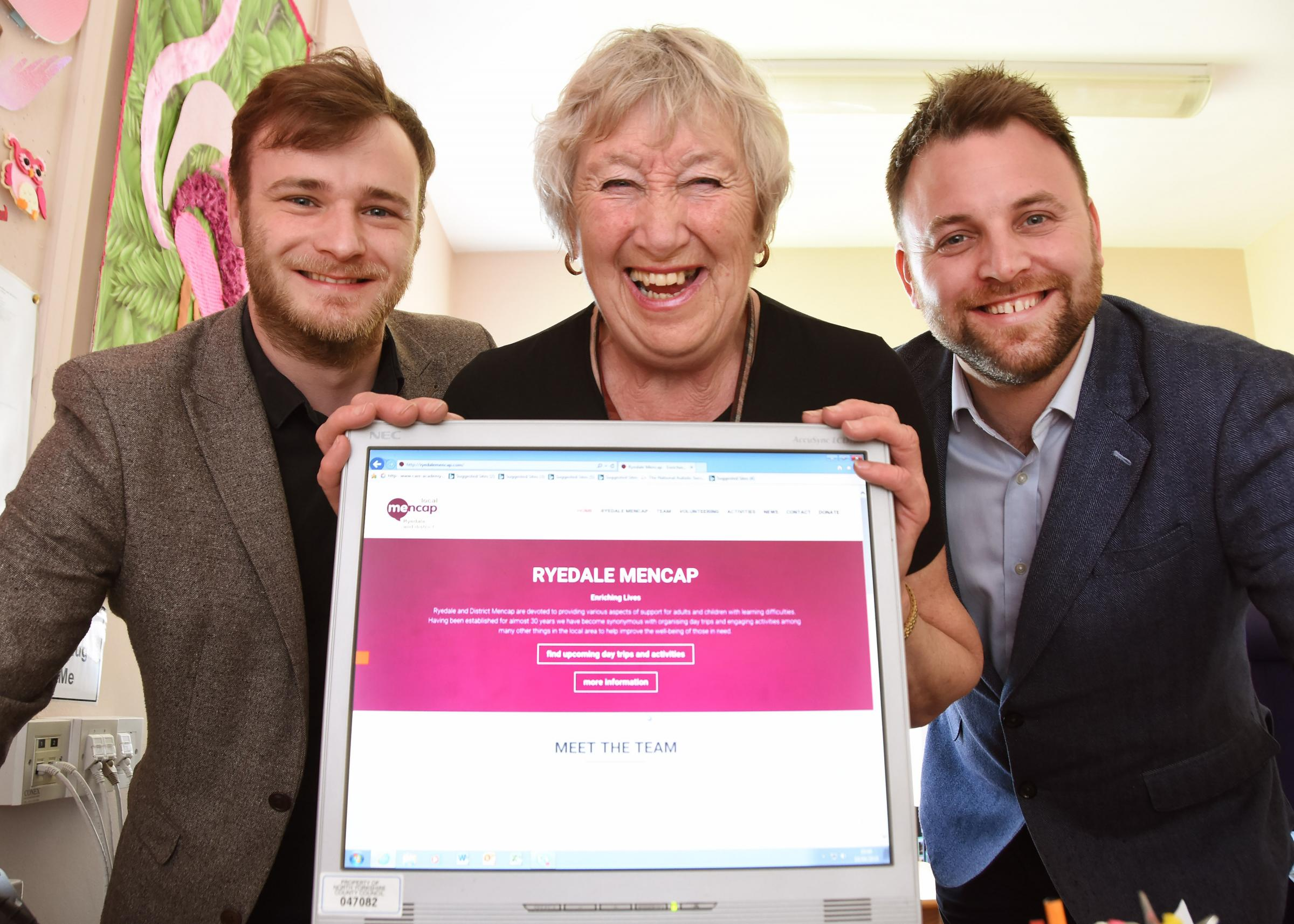 Launching the new Ryedale and District Mencap website are chairman Sylvian Timberly, and sponsors Andrew Welham and James Szkiler      Picture: David Harrison