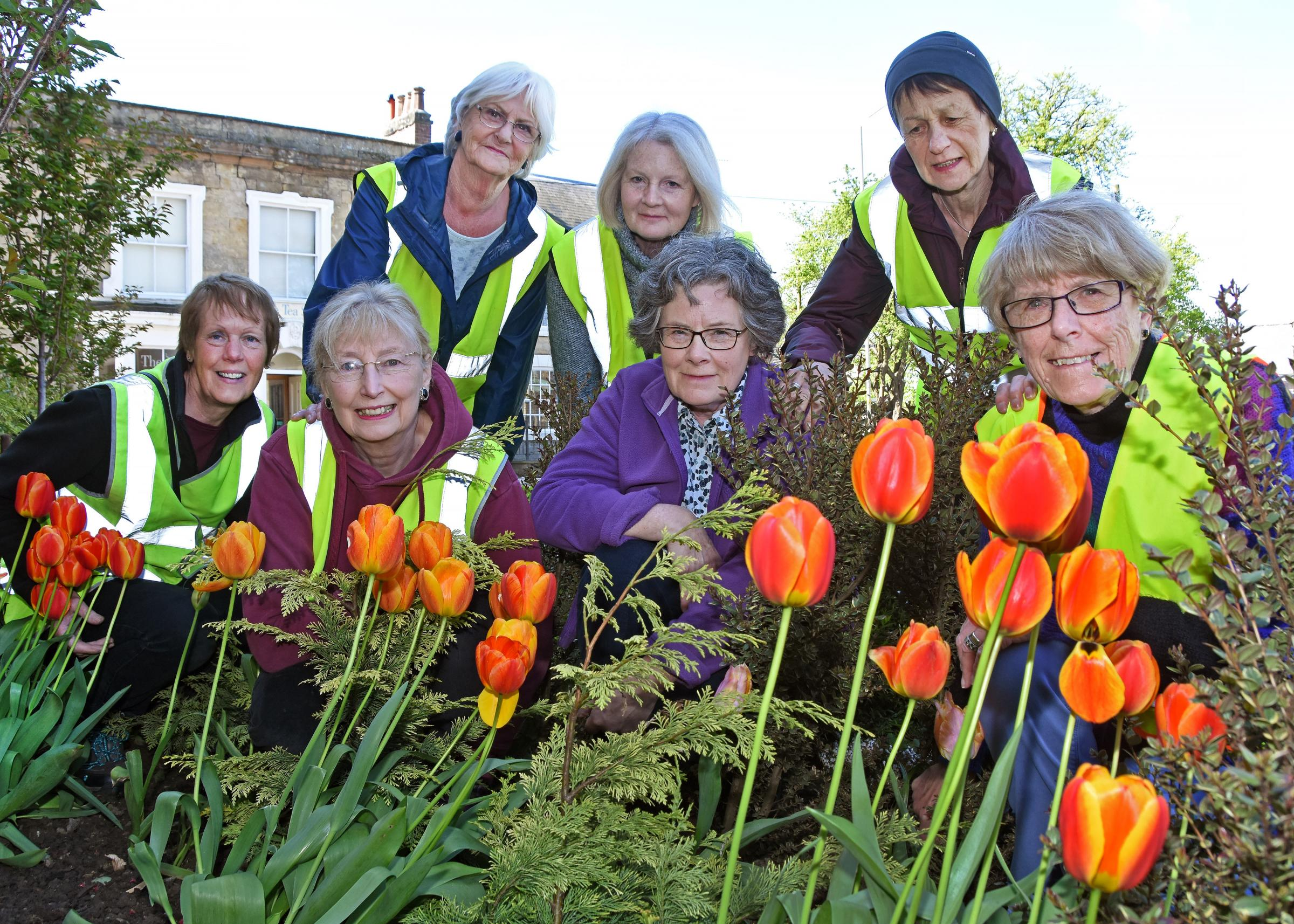 Pickering In Bloom group members Joy Rayment, Marion Pearce, Vonnie Atkinson, Catherine Stables, Margaret Hemmings, Chris Rowland and Eileen Blakeley appeal for more volunteers in join them       Picture: David Harrison