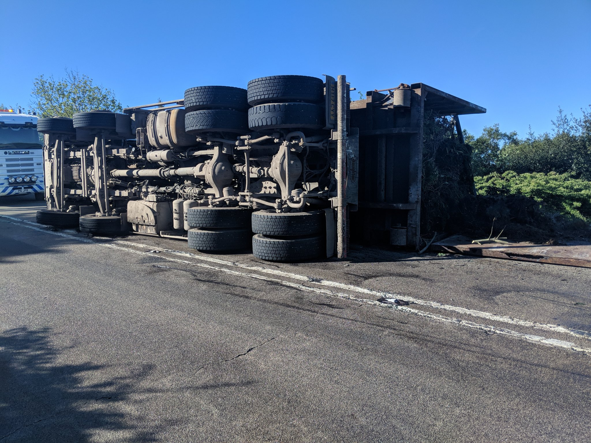 The overturned lorry on the A171. Picture: Mark Patterson