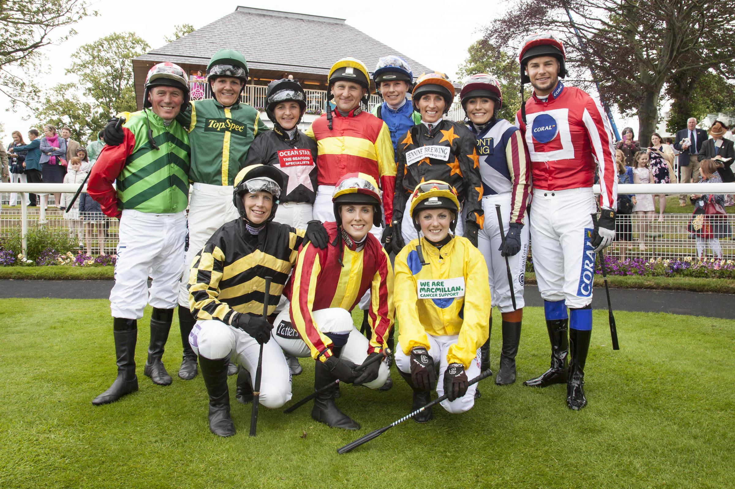 The amateur riders who took part in the Macmillan and Best Western Ride of their Lives 2018 at York Racecourse on Saturday, which included three riders from Ryedale