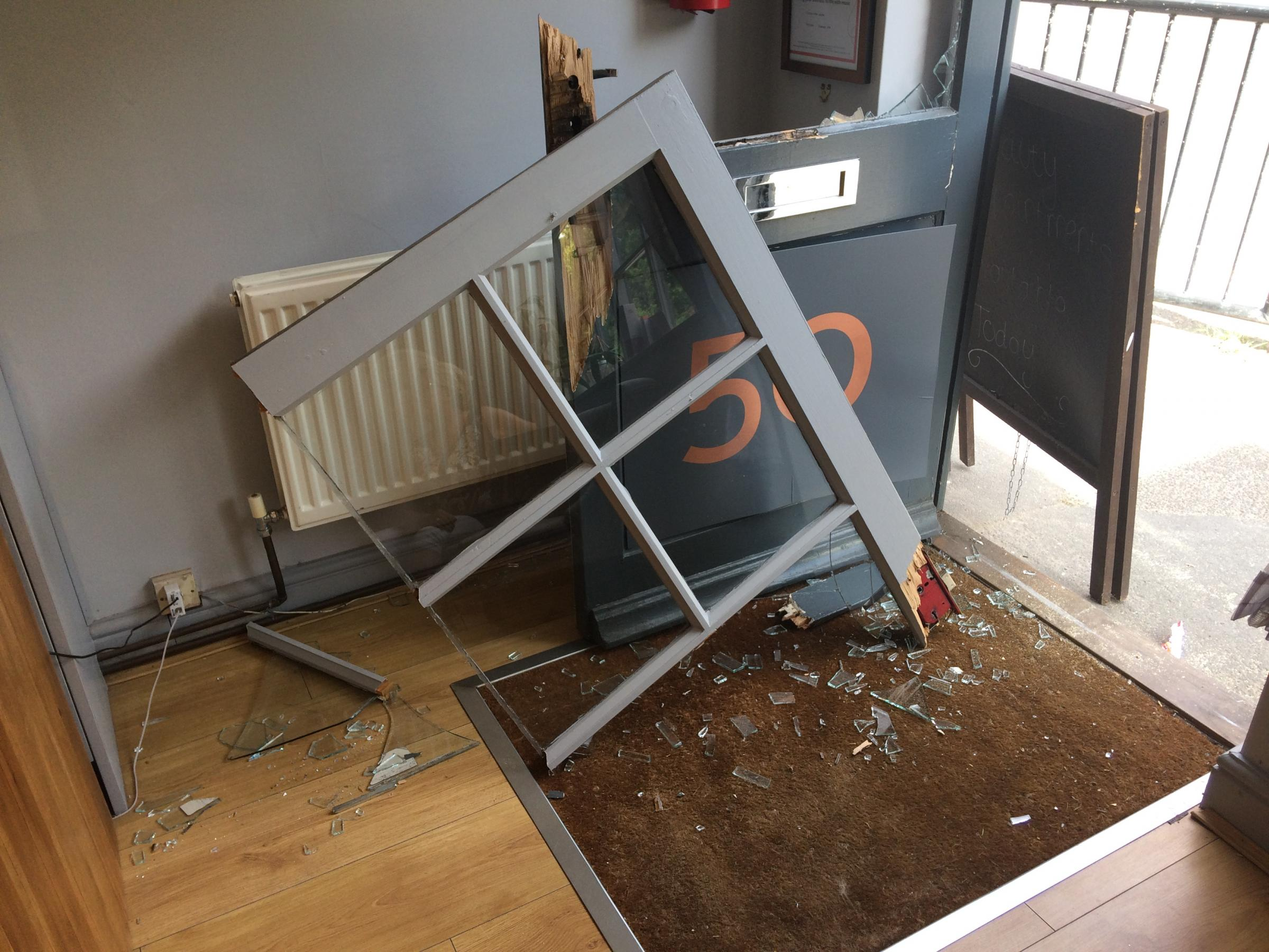 The damage done at Anna Green hairdressers in Castlegate, Malton following a break-in.
