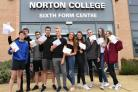 Successful A Level candidates at Norton College.Pic Nigel Holland
