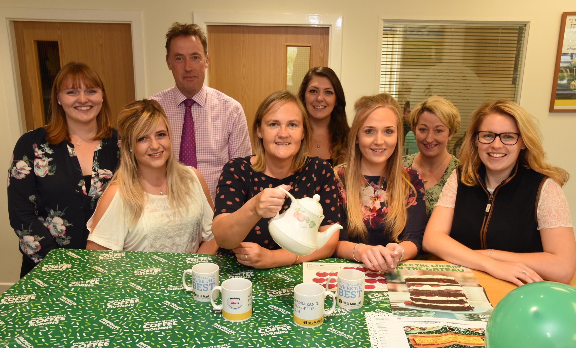 The team at NFU Mutual in Pickering, who are organising Macmillan Coffee Morning at the end of this month to raise money for the cancer charity     Picture: Nigel Holland