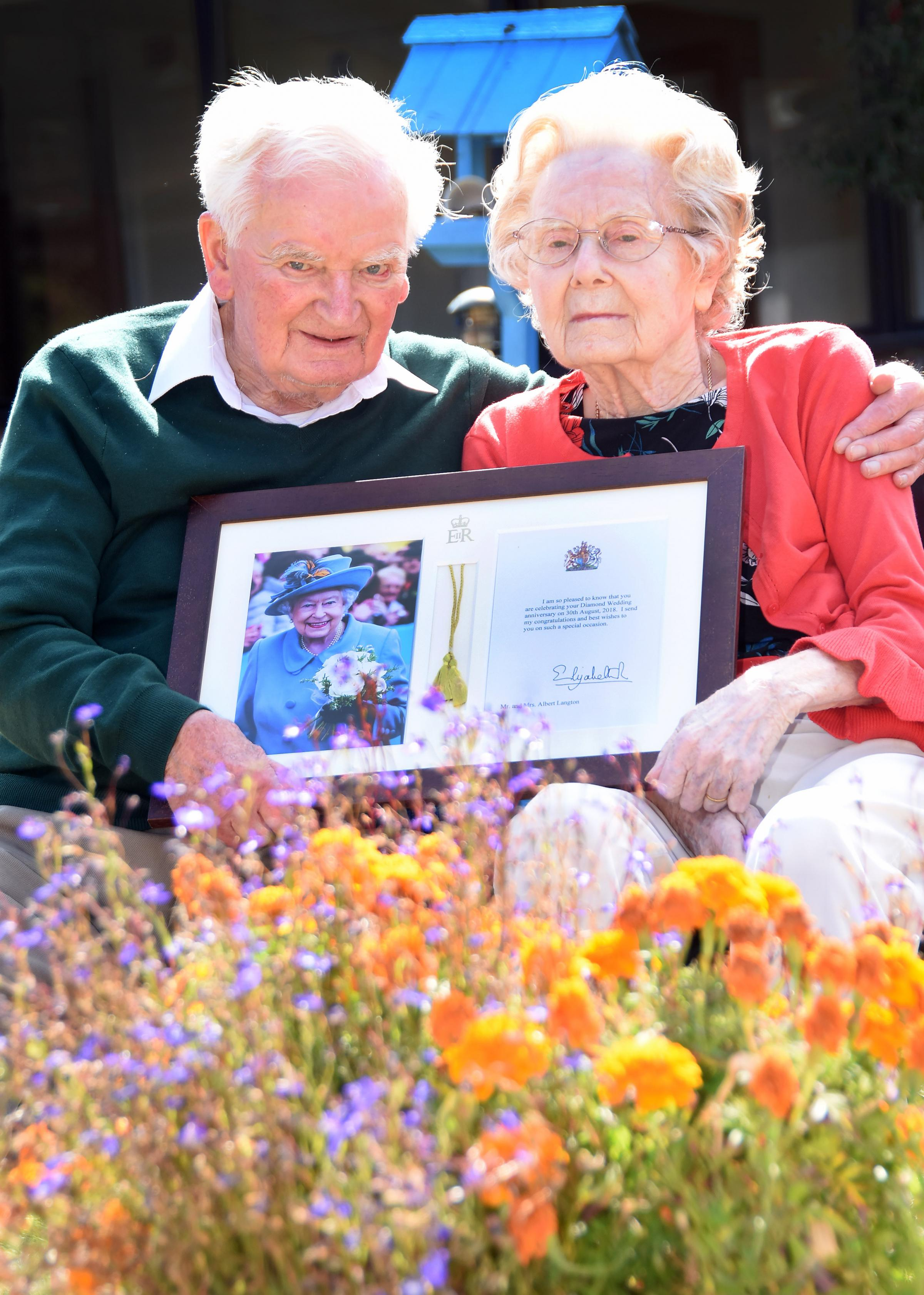 Albert and Marguerite Langton celebrating their diamond wedding anniversary at the Rivermead care home in NortonPicture: David Harrison