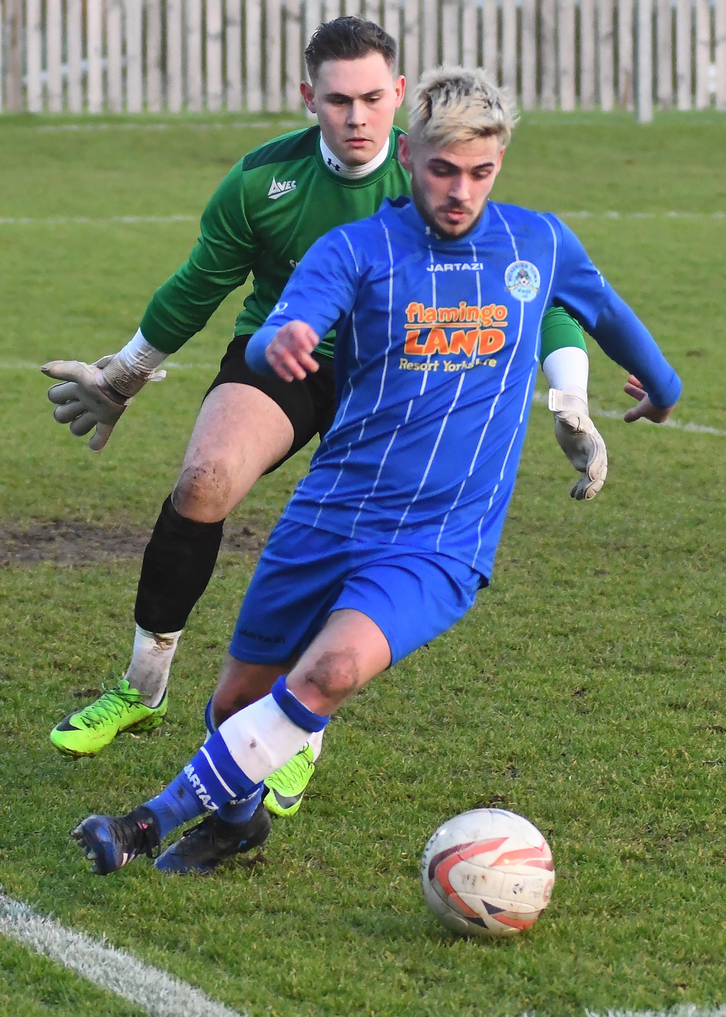 Lewis Taylor captained a youthful Pickering Town side as they were edged out by Middlesbrough Under-23s. Picture: David Harrison