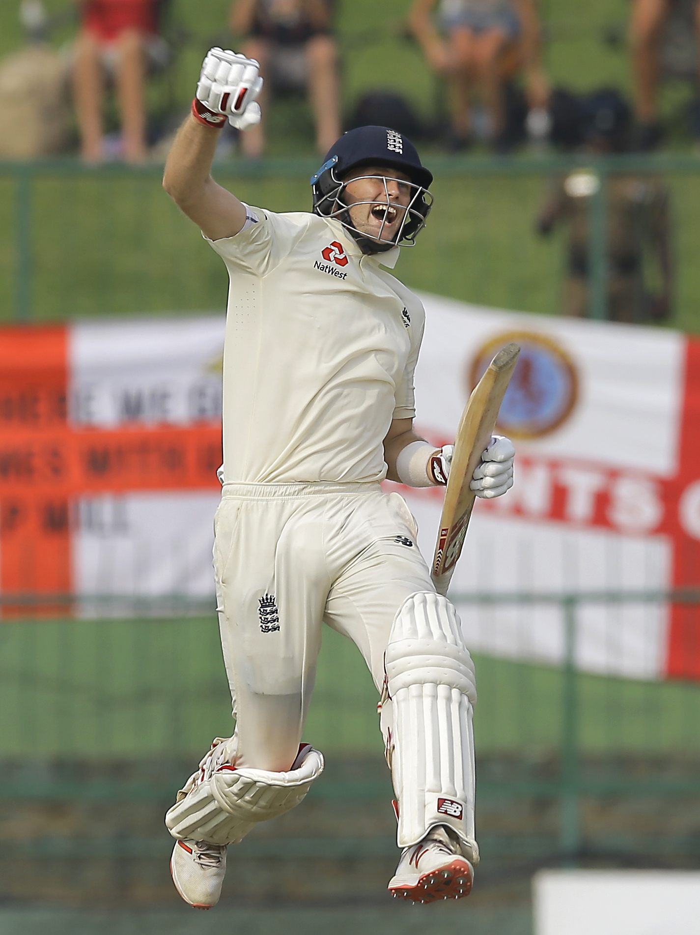 Joe Root celebrates reaching his century in England's second Test against Sri Lanka