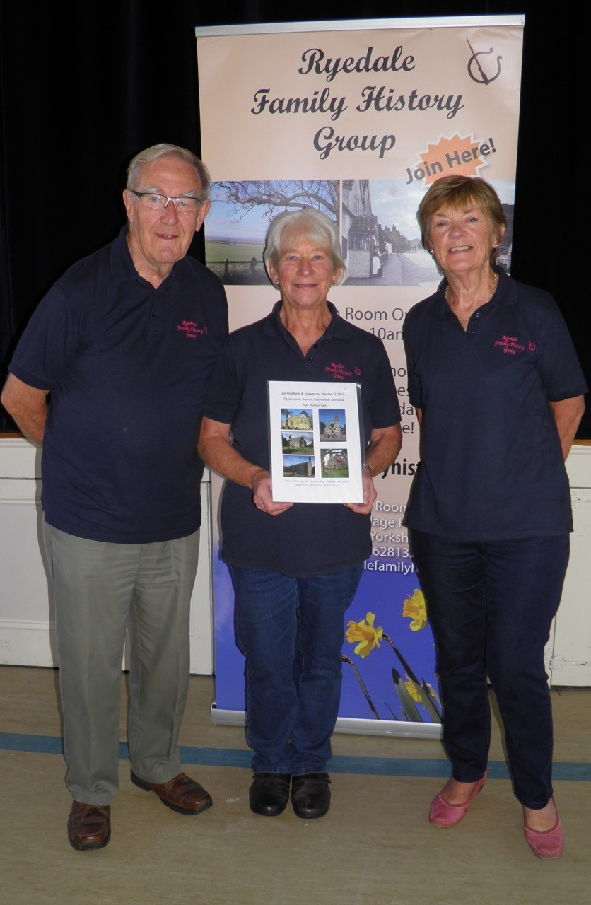 Peter Braithwaite, project lead for War Memorial books, Andie Cattle, secretary of Ryedale Family History Group, who researched and wrote the book, and Carol Fitz-Gibbon, a committee member who also contributed to the book