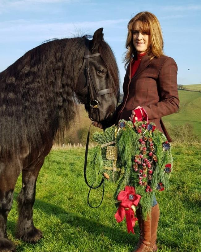 Wreath-maker Julie Smith, her fell pony and the wreath that was sent to the Queen 