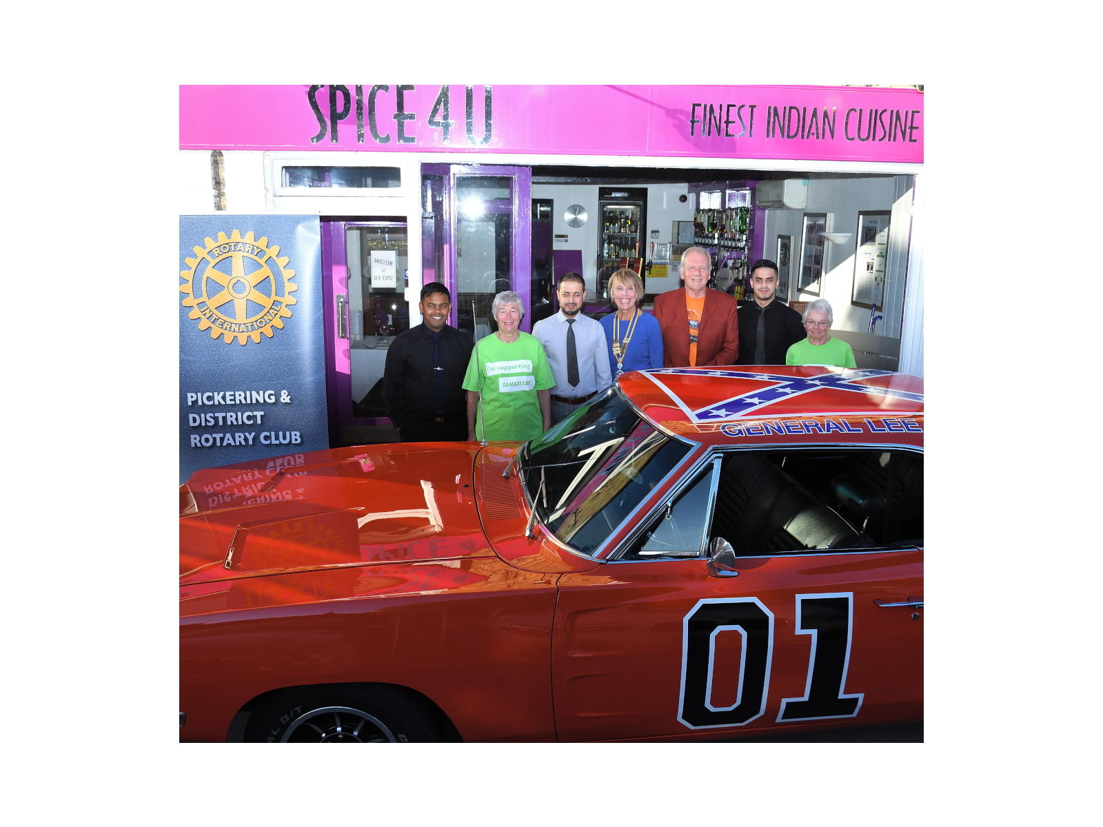 Pickering Rotary Club members with the General Lee at the Spice 4U in Pickering