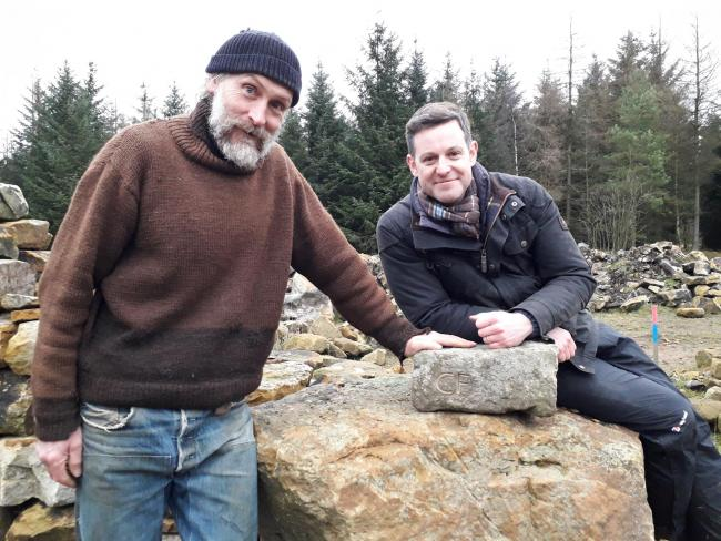 BBC's Matt Baker and local dry stone wall creator Mark Ellis. Picture: Dalby Forest