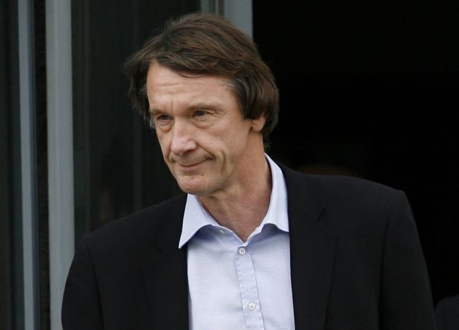 Jim Ratcliffe, owner of chemicals group Ineos, pictured leaving the Ineos offices at Grangemouth oil refinery where he was in discussions over his striking workforce.