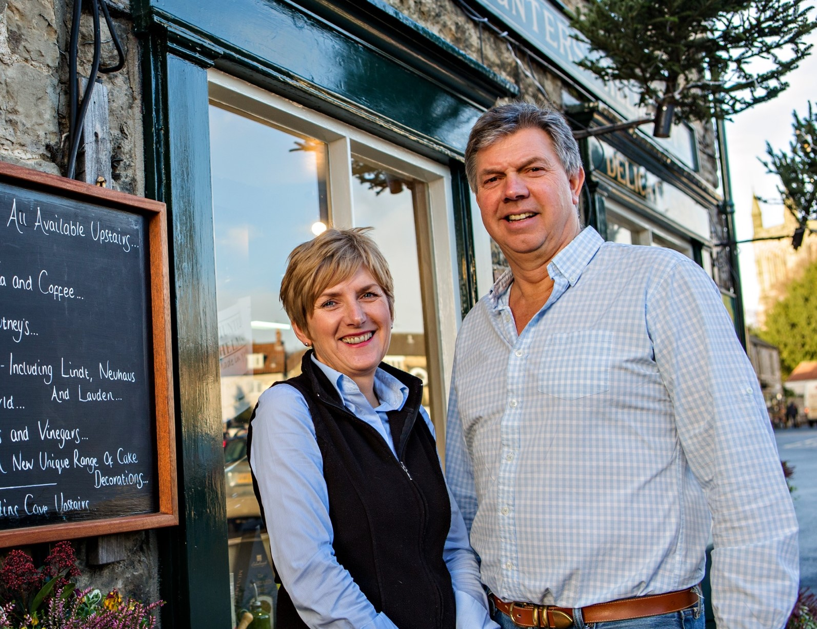 Hunters owners Chris and Christine Garnett. The award-winning Helmsley deli has gone up for sale.