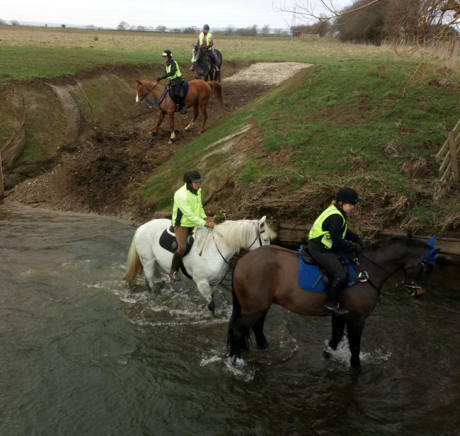 Riders on the Ride Yorkshire guided ride traversing the river at the Cowl Dyke Wath     Picture: Bill Tait