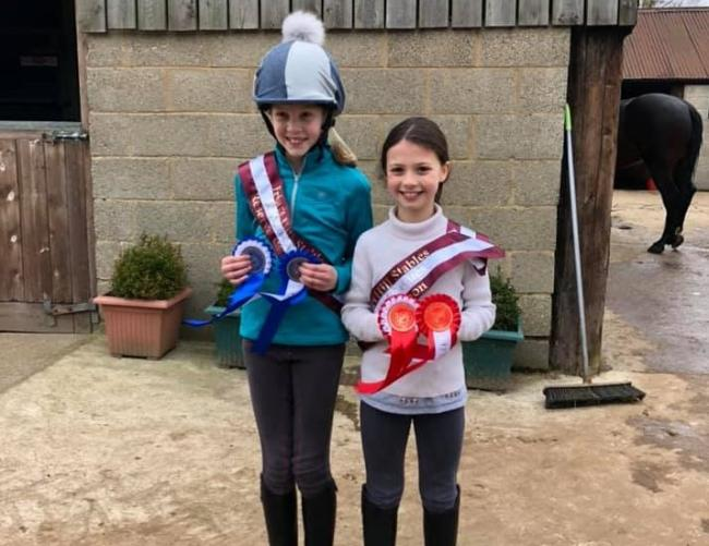 Reserve champion Annie Foster and Champion Lucy Warne, Friars Hill Stables Little Leagues 2019.