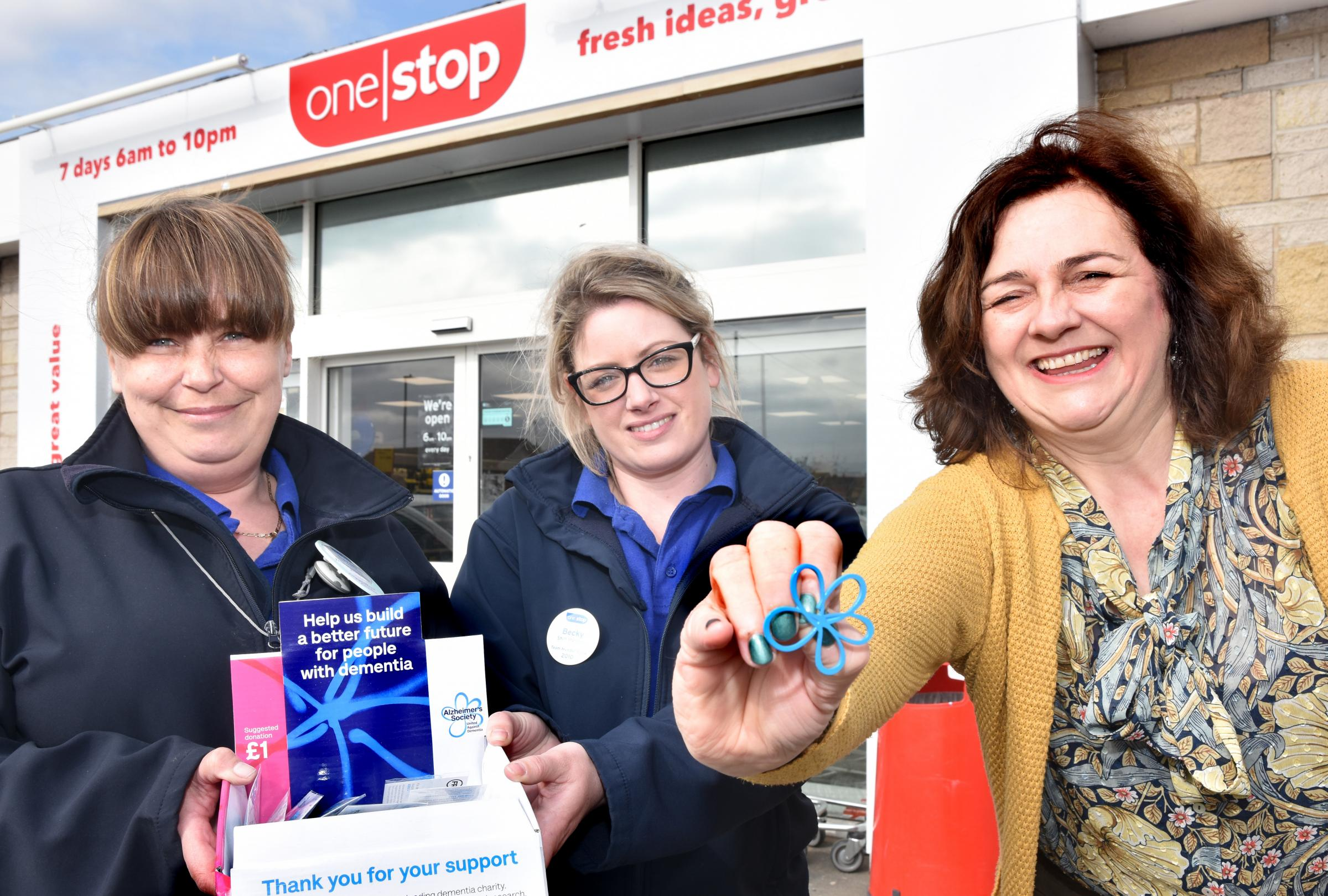 The One Stop in Norton has chosen the Alzheimer's Society as their new charity partner. Dinah Keal, right, media manager for Alzheimer's Society, with shop staff members Sarah Barlow and Becky Johnson    Picture: Frank Dwyer