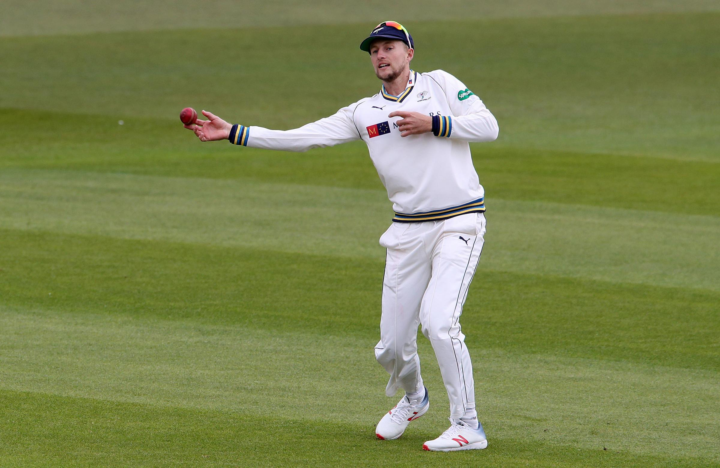 Yorkshire's Joe Root is fine after leaving the field nursing his left hand following an attempt to stop a drive from Joe Clarke Picture: Nick Potts/PA Wire