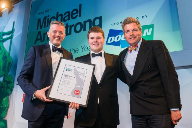 20-year-old Michael Armstrong, award-winning apprentice at Malton-based Kridan Handling Ltd, picking up his prize at the Fork Lift Truck Association industry awards   Picture: Edward Shaw
