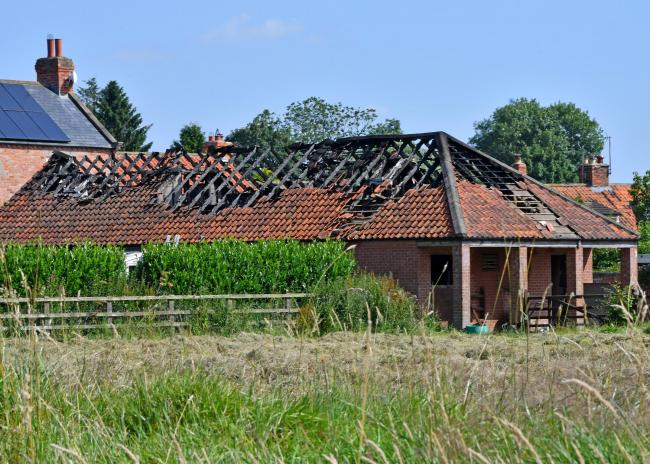 The building to the rear of David Lumley's home in Marton following the fire in July 2017