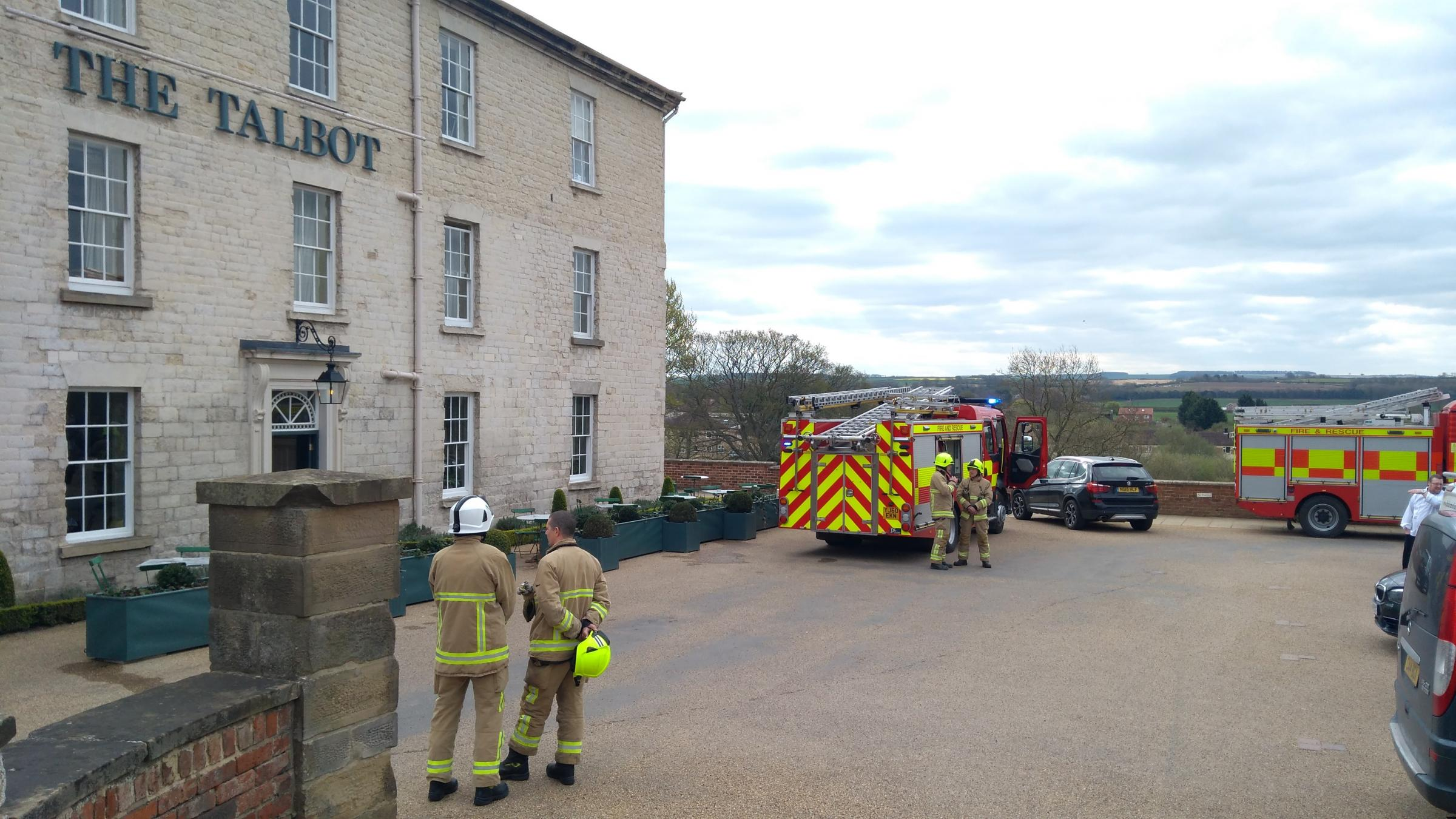 Fire crews attending reports of smoke at the Talbot in Malton. Picture: David Mackie