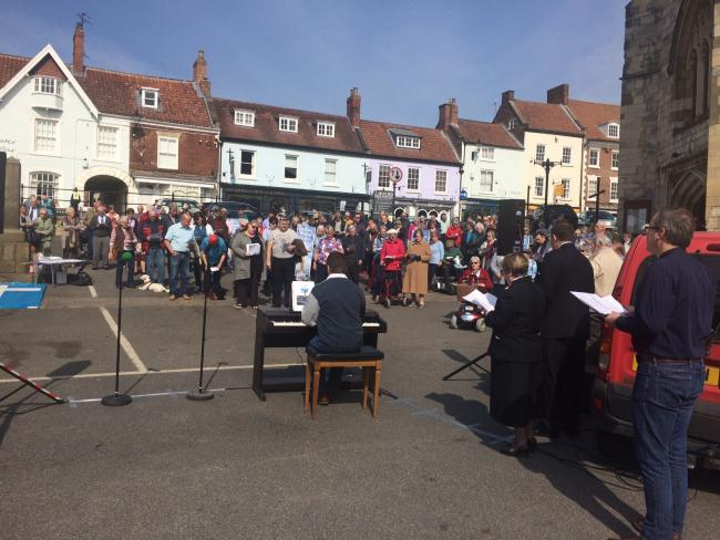 The Good Friday gathering in Malton market place