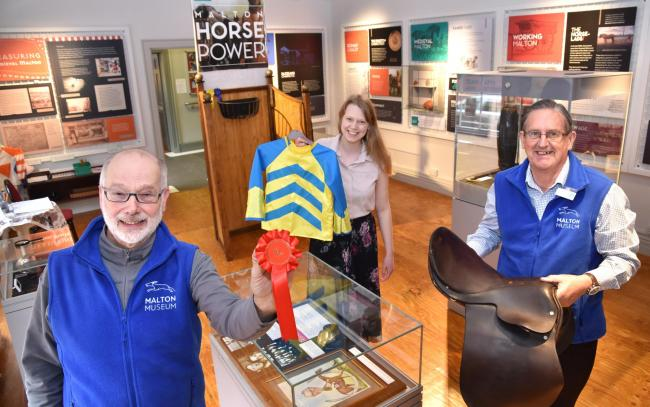 Malton Museum's new exhibition opens with, from left, volunteer Bob Fitter, project manager Kim Davies and volunteer Roy Howell      Picture: Frank Dwyer