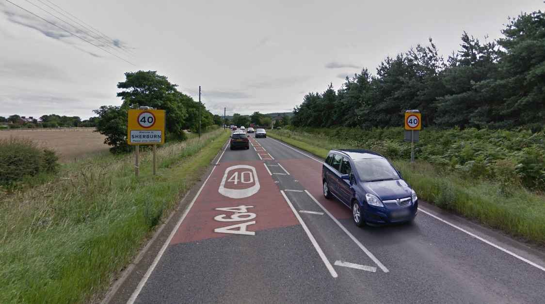 The A64 through the village of Sherburn where flood work will take place next year  Picture: Google Maps