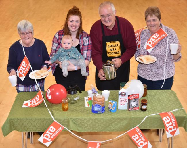 Getting ready for this Saturday's Big Brekkie at St Peter's Church, house in Norton, from left, Margaret Wilson Danielle Leo-Cole and her daughter, Bobby, Ron Wilson and Rev Rachel Hirst    Picture: Frank Dwyer