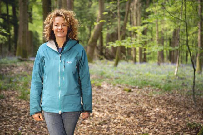 Kate Humble among the trees - photo Forestry England