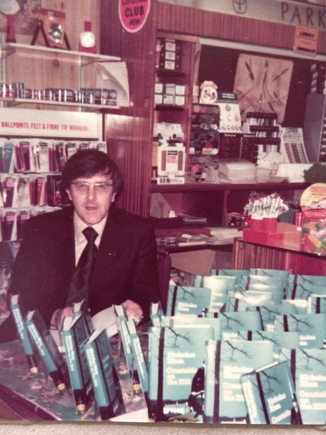Peter Walker signing copies of his first Constable book, Constable on the Hill, at Grovers of Northallerton on May 26, 1979